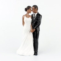 1 Piece African American sweet love Figurine Bride Groom Wedding Cake Topper marriage Event Party Supplies anniversary Black