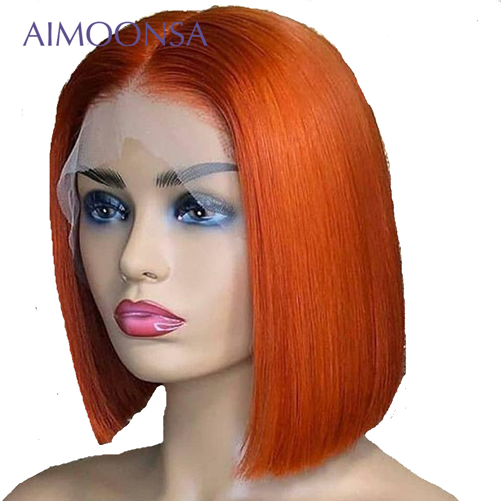 Colored Human Hair Wigs Orange Wig Bob Lace Front Wigs Short Hair Pre Plucked With Baby