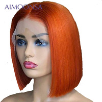 Цветной человеческих волос парики оранжевый парик Боб Синтетические волосы на кружеве парики короткие волосы предварительно сорвал с ребе
