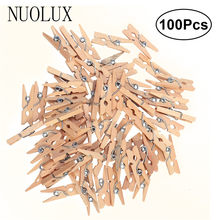 100pcs Mini Wooden Pegs Natural Wooden Clothes Pin Photo Paper Peg Clothespin Craft Clips(China)