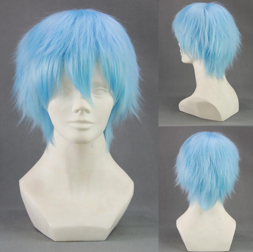 Kuroko no Basket Tetsuya Kuroko Cosplay Wig 30cm Short Light Blue Men Synthetic Hair Perucas Cosplay Wig+Wig Cap