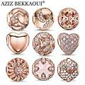Rosa de Ouro Contas De Cristal Fit Pandora Colar Pulseira Encantos Do Coração Da Forma Mulheres Jóias Grande Buraco Contas Para Fazer Jóias DIY