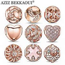 Rose Gold Crystal Beads Fit DIY Bracelet Necklace Heart Charms Fashion Women Jewelry Big Hole DIY Beads For Jewelry Making(China)