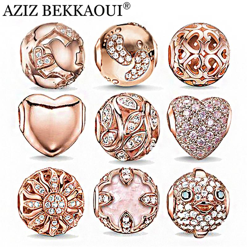 Rose Gold Crystal Beads Fit Pandora Bracelet Necklace Heart Charms Fashion Women Jewelry Big Hole DIY Beads For Jewelry Making