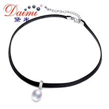 DAIMI White Pearl Choker Pendant 8-9mm Tear Drop Freshwater Pearl Necklace 13-14mm Coin Pearl Trendy Necklace Lady Best Gift