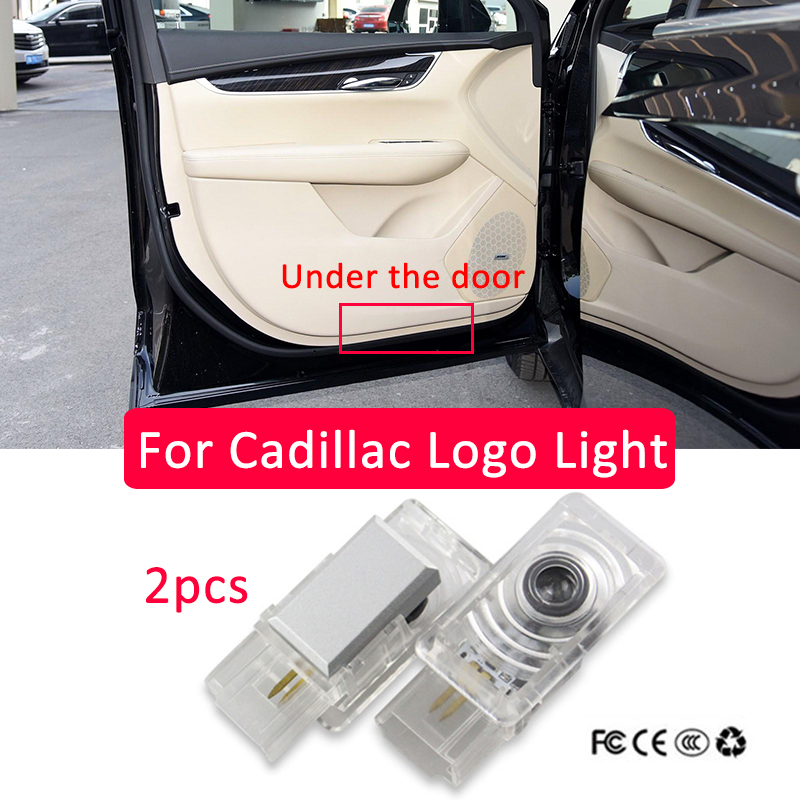 2pcs For Cadillac XT5 ATS 2017 Led Car Door Logo Laser Projector Light styling V emblem Logo light Ghost Shadow Lamp Accessories