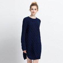 Трикотажные Платья-свитеры 2018 новое поступление с длинным рукавом весенние женские сбоку Разделение платье Повседневное свободные женская одежда vestidos