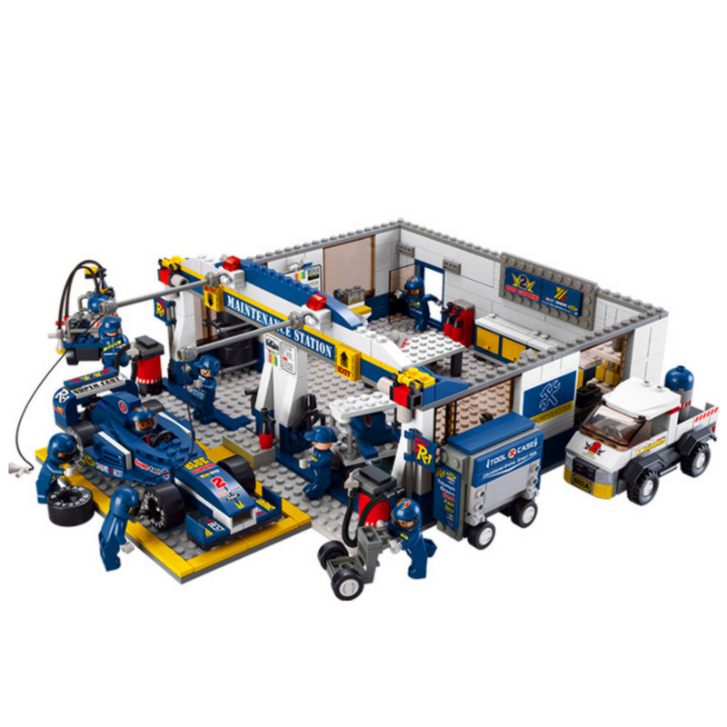 Speed Car Champion F1 Blue Racing Maintenance Station Building Blocks Sets Bricks City Model Kids Toys Gifts Compatible Legoings new city police fire station truck spray water gun firemen car building blocks sets bricks model kids toys compatible legoings