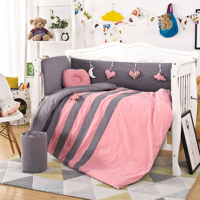 9PCS/set Newborn Baby Crib Bedding Set Cotton Bedding Set Bumper Quilt Mattress Pillow Set