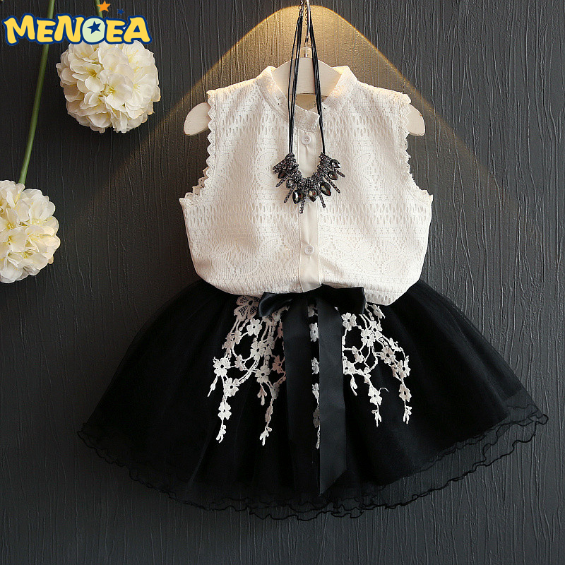Menoea 2017 Brand New Casual Summer Style Girls Dress Sleeveless White Lace T-shirt+Grils Dress 2Pcs for Kids Clothes kredo natur питательная маска йогурт для любого типа волос с ароматом клубники dzintars