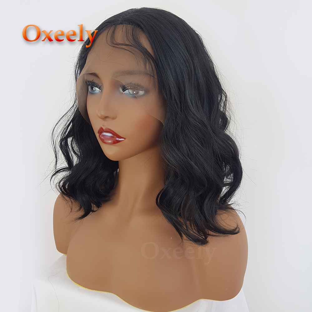 Oxeely Short Black Bob Hair Synthetic Lace Front Wigs Glueless with Baby Hair Lob Synthetic Lace Front Wig for Fashion Women