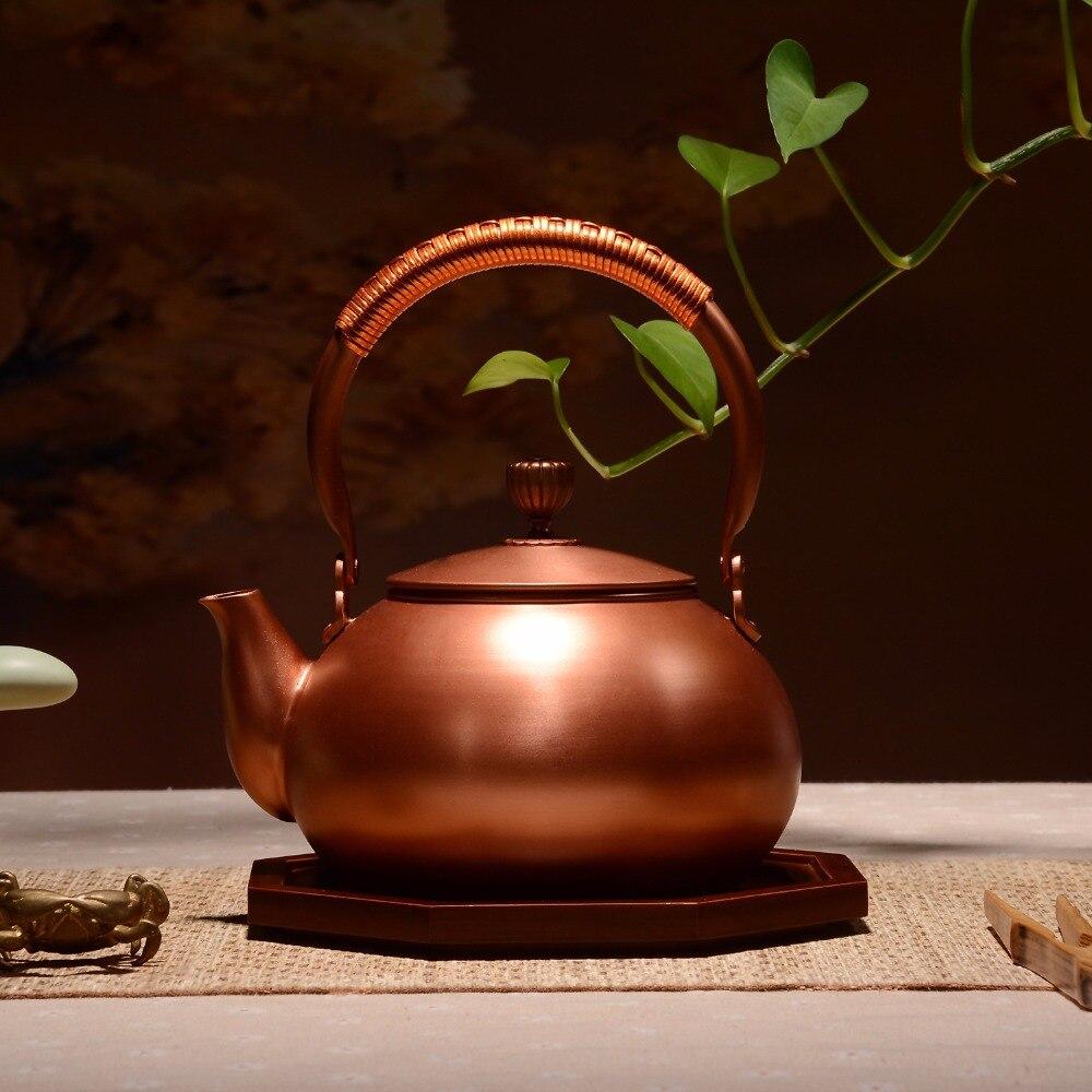 Koperen theepot japan stijl thee pot met filter metalen grote capaciteit ketel drinkware pak fire elektrische alcohol fornuis 50-in Theepotten van Huis & Tuin op  Groep 2