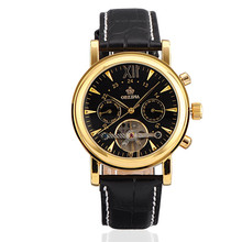 Stainless Steel Leather Mechanical Watches Men s Luxury Brand Automatic Wristwatches ORKINA Black Fashion Business Watches