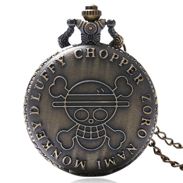 Japanese Animation One Piece Theme Bronze Case Quartz Fob Pocket Watch With Neck