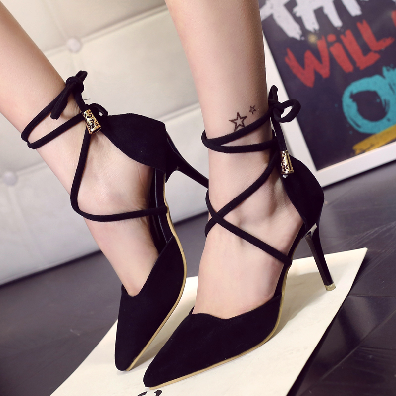 High Quality Brand Pointed Toe Women Pumps Summer Fashion High Heels Shoes Back Strap Thin Heels Pumps Solid Shoes 14