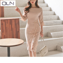 Spring and summer new Korean version of OL temperament long paragraph stitching fashion lace Slim bag hip sexy dress female велосипед stinger discovery 26 2018