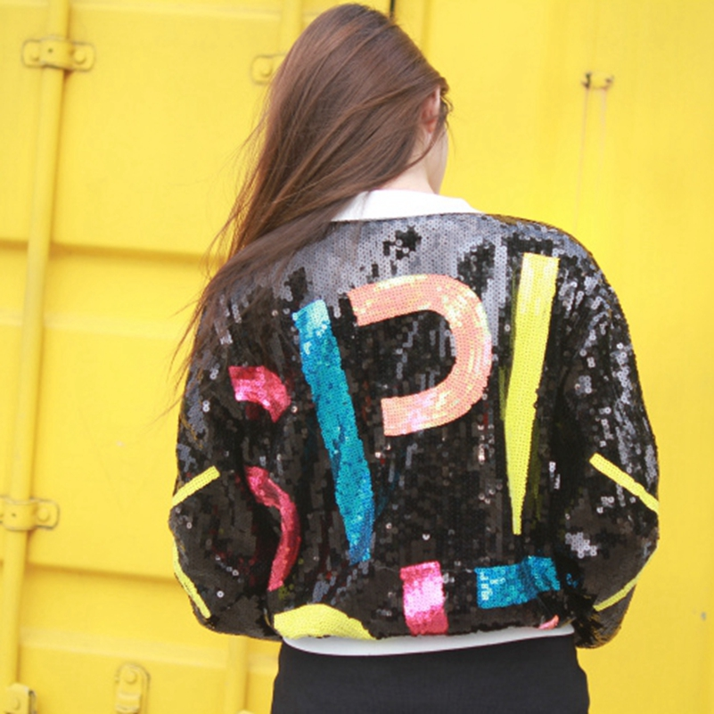 Free Wild Standing Long Sexemara Color Jacket silver Black New Sleeve Sequin Shipping Collar Fashion The qCwXPf