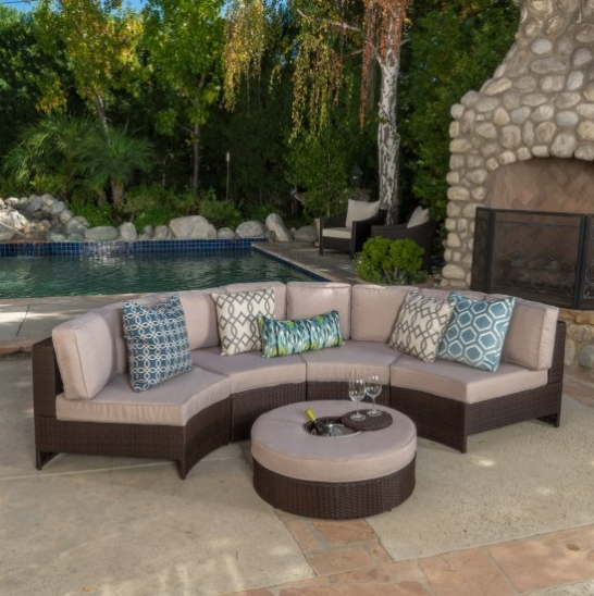 Garden Furniture Small Sofa Set Curved