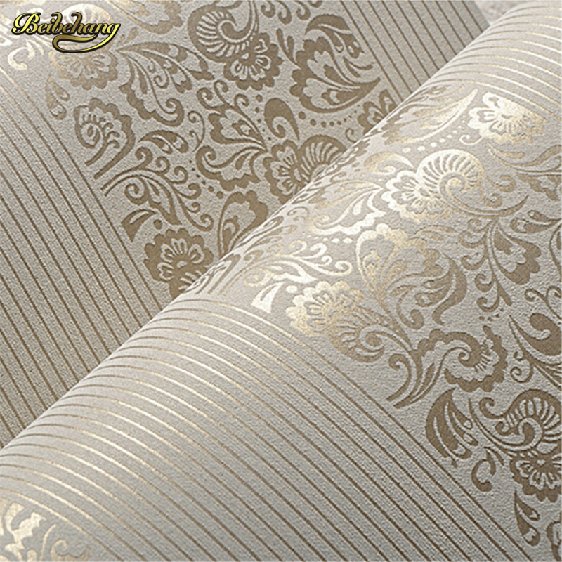 Beibehang Wallpaper Home Improvement Wall Paper Modern Fashion Non-woven Flocking Wallpaper Rolls For Bedroom Background Wall