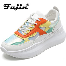 Fujin Sneakers Women Summer 2019 Dropshipping Colorful Bright White Shoes Flat Platform Fashion Leisure Thick Bottom