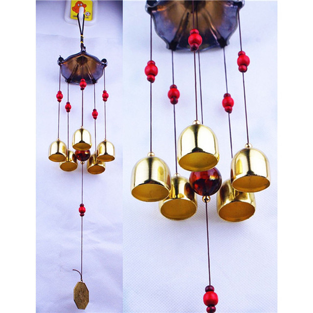 Large 5 Bells Copper Wind Chimes Antirust Bell Outdoor Decorations Lucky Metal Paa Best Wishes Home