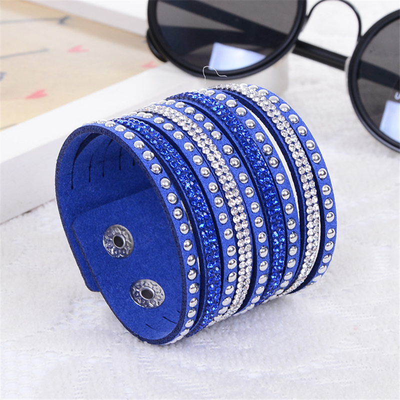 Hot Sale Simple Wide Manchet Leather Flannel Krystal Wrap Punk Bangle Piger Rhinestone Armbånd til Women's Smykker Gave Party