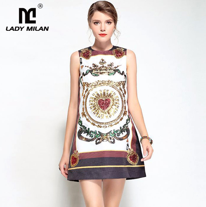 High Quality New Arrival 2018 Womens O Neck Sleeveless Sequined Printed A Line High Street Fashion Casual Dresses