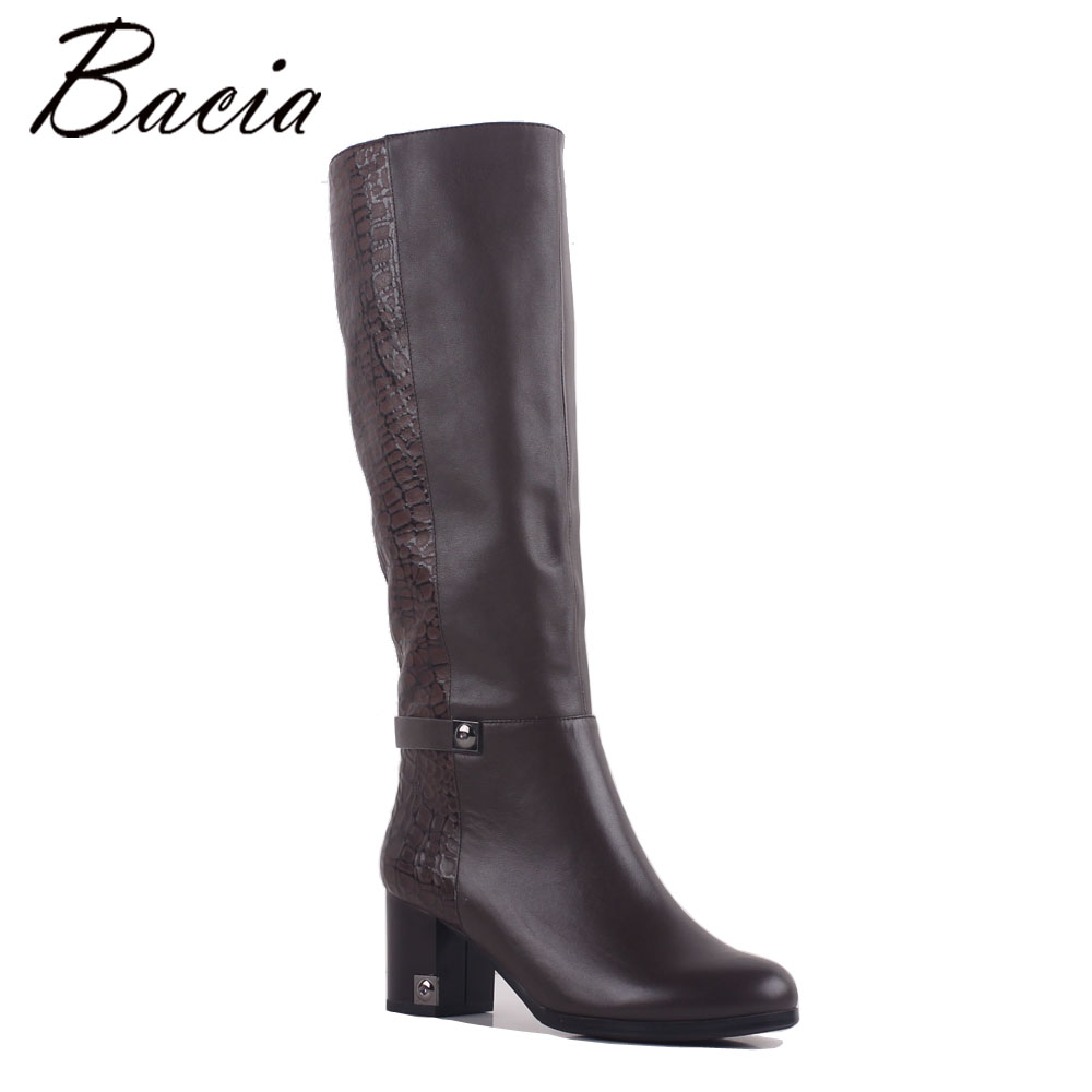 Bacia New Stone pattern Grey Boots Cow Leather + Sheepskin Women Long Boots Retro Handmade Fashion Casual Winter Shoes MB025 camel winter women boots 2015 new shoes retro elegance sheepskin fashion casual ladies boots warm women s boots a53827612