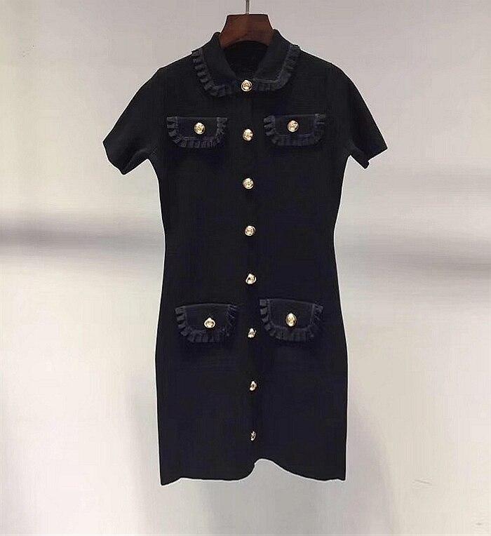 100% bawełna marka moda damska high end luksusowe lato nowy elegancki szczupła rocznika rzeźbione przycisk dzianiny bawełniana sukienka w Suknie od Odzież damska na  Grupa 1