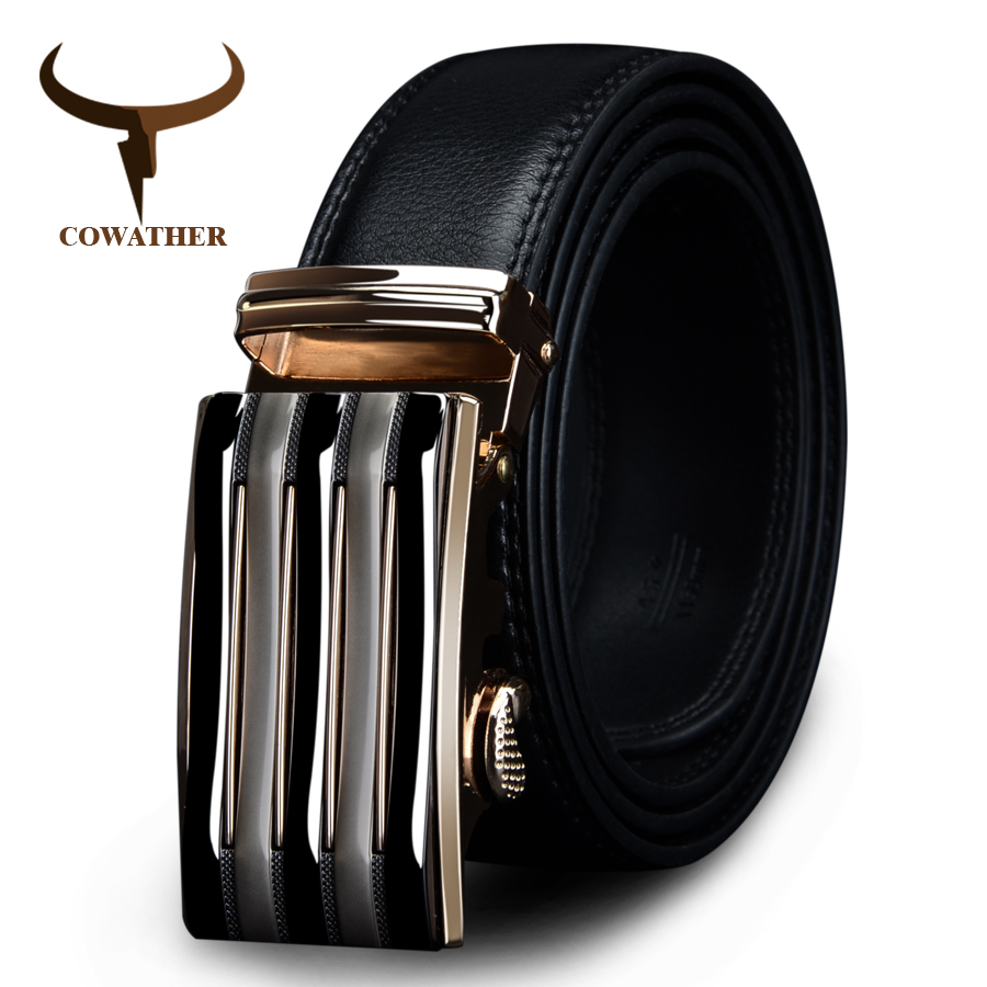 COWATHER 2018 luxury men`s genuine leather   belts   for men automatic alloy buckle big size top quality 110-130cm cz030 huaqiang