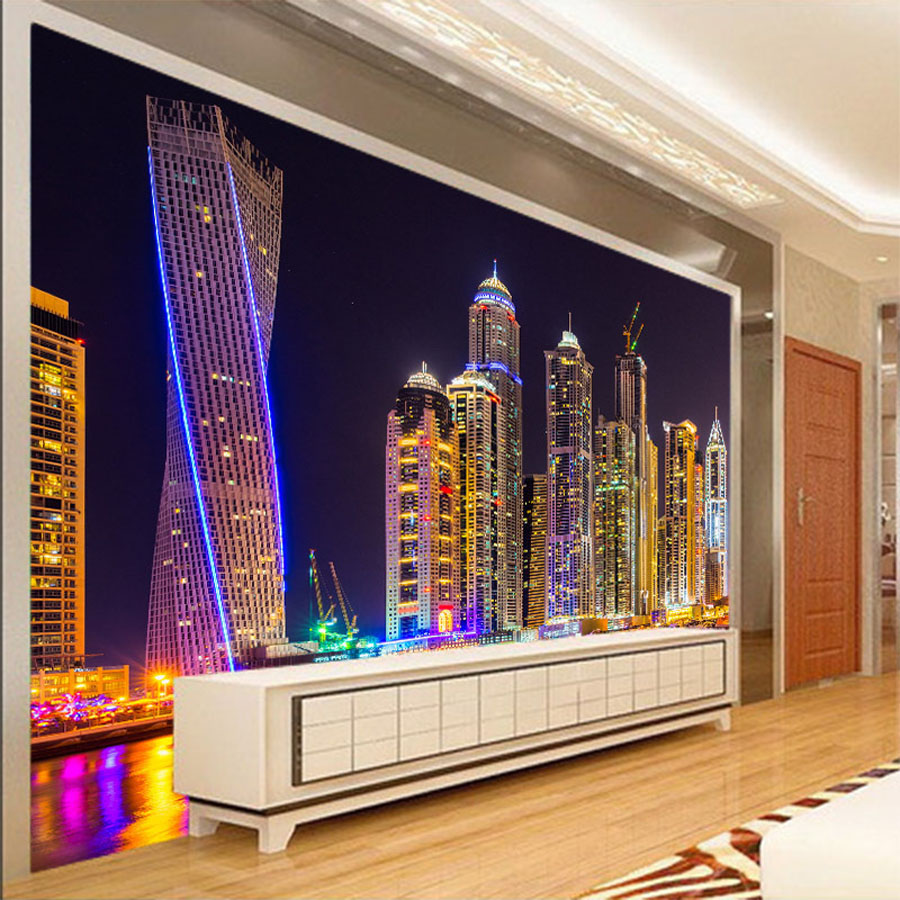ShineHome-Chinese Cityscape Night City Building Wallpaper for 3 d Wall Living Room Mural Rolls Wall Papers Household Home Decal shinehome city building wallpaper black and white 3d murals for walls 3 d wallpapers for livingroom kids 3 d mural roll room