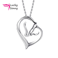 Lucky Sonny Hot Fashion Silver Jewelry Mother Child Horse Necklace Genuine 925 Sterling Silver CZ Paved