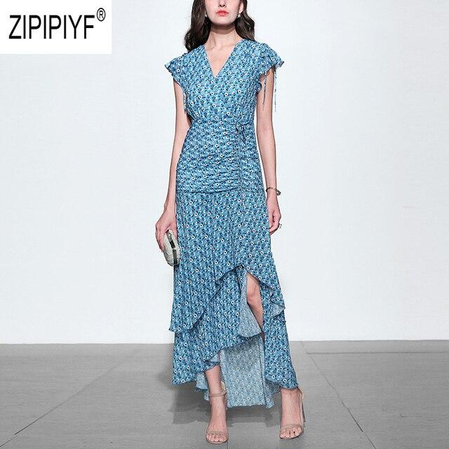 2019 Summer Fashion Women Dresses Floral Printing Short Sleeve Drawstring Asymmetric Hem Long Dresses Bohemian Dresses Z1138