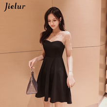 Jielur Black Dresses Women Elegant Lady Casual Pearl Beading Mesh Patchwork A-Line Dress Korean Summer Sexy Vestidos Verano 2019