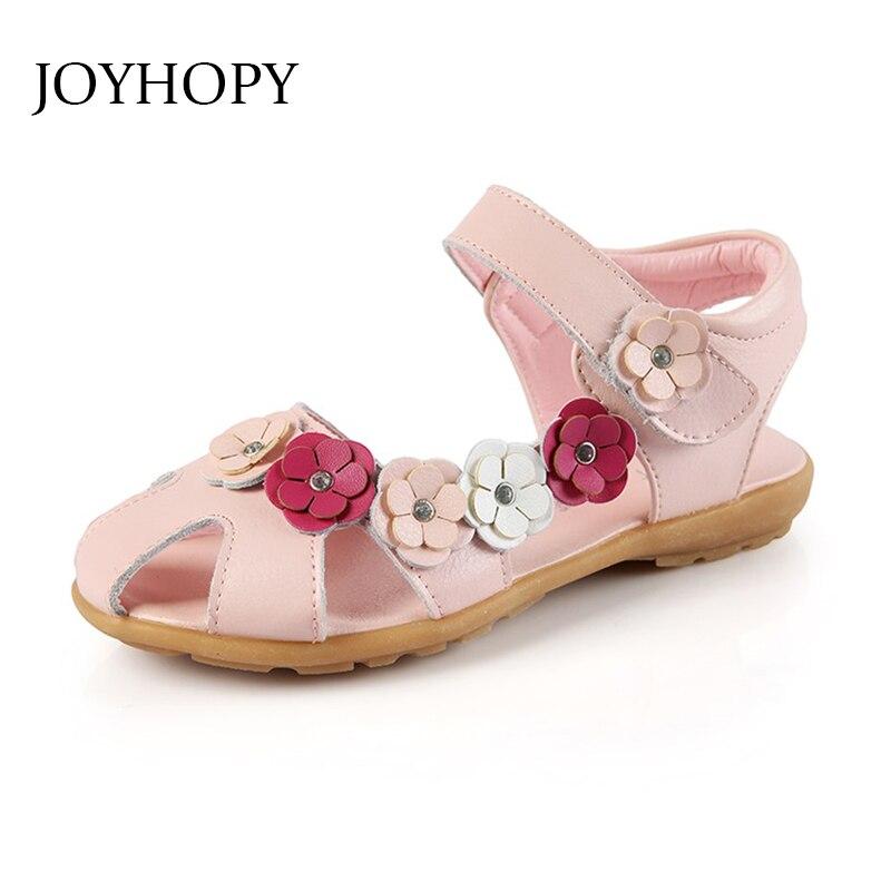 2018 Floral Sommer Mädchen Sandalen Anti-sliperry Kappe-kappe Kinder Schuhe Weichen Geniune Leder Baby Mädchen Schuhe Kinder Sandalen Eu31-36