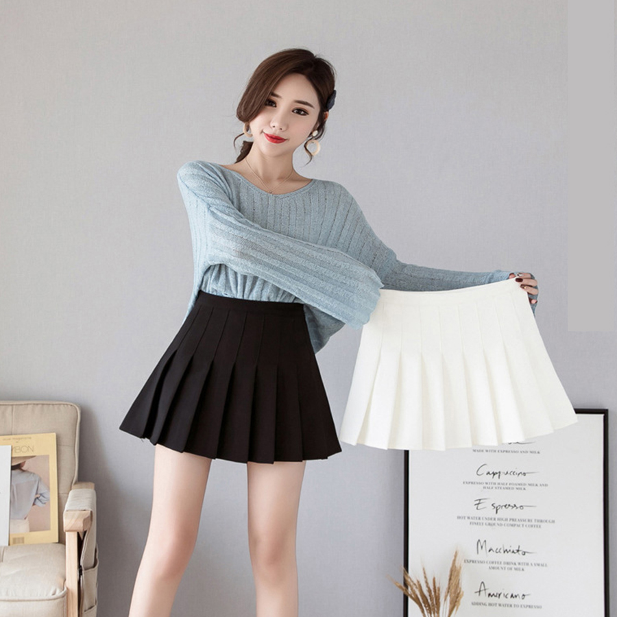 Summer Korean Version Solid Color Pleated Sweet Skirt Ladies High Waist Slim Fashion Half Body To Go Girl Plus Size Skirt