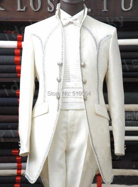 € 106.81  Livraison gratuite Custom made ivoire blanc palais smokings  hommes costume de mariage (Veste + pantalon + ceinture + noeud papillon)  dans ... d3ba09e0f3e