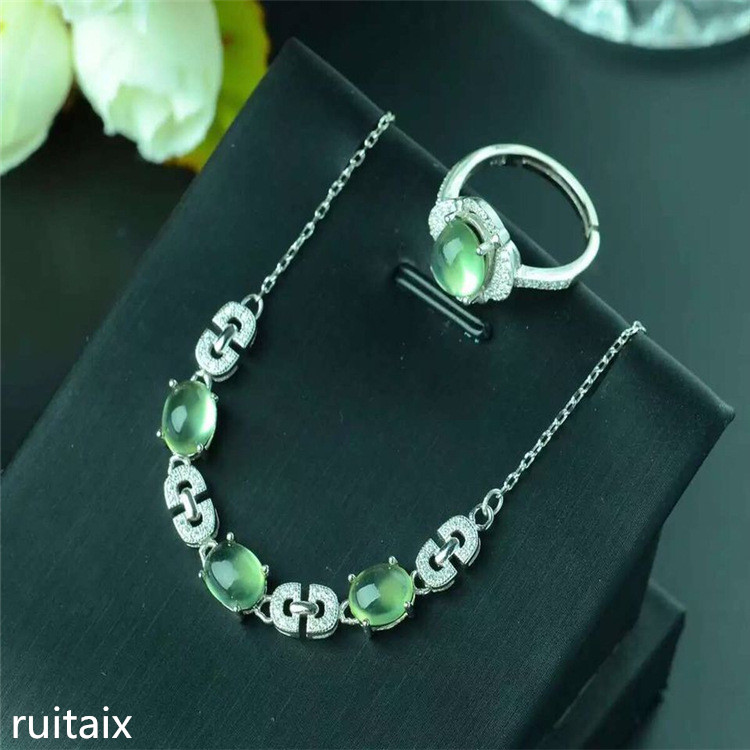 KJJEAXCMY boutique jewels 925 Pure silver setting natural crystal grape water tender grape vine stone lady pendant ring set pure natural tender grape stone ring set 925 sterling silver inlay