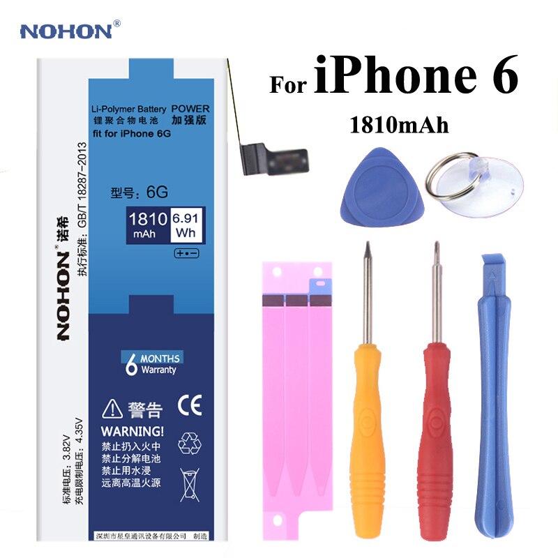 NOHON Batterie De Remplacement pour Apple iPhone 6 6G Haute Réel Capacité 3.82 V 1810 mAh Li-polymère Intégré Batterie au lithium Avec Des Outils