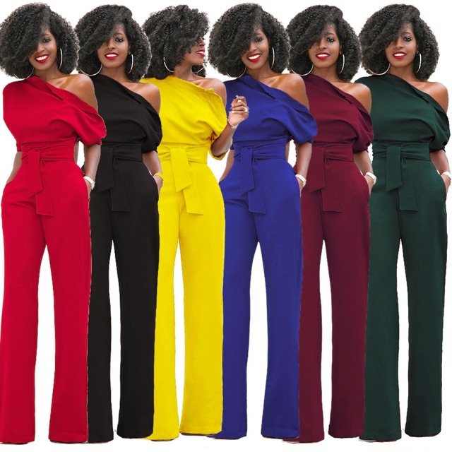 f2587c6937 Red Black Blue Yellow Wine Women Jumpsuit Oblique Shoulder Belted Fashion  Jumpsuits Hot Sexy Side Buttons Down Bodycon Jumpsuits