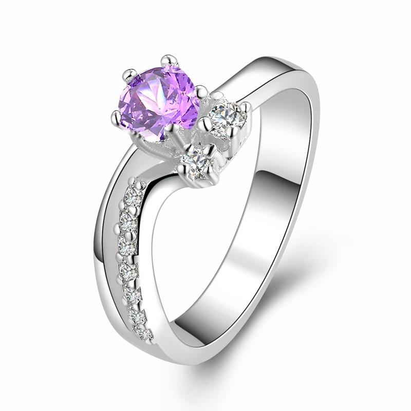 Silver Purple Zircon Ring 925 Sterling Silver Rings For