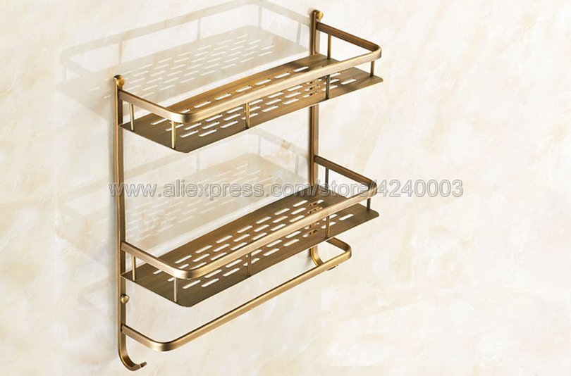 Bathroom Shelves 2 Layer Antique Metal Shower Corner Shelf Wall Mount Shampoo Storage Shelf Rack Bathroom Basket Holder Kba527 - 4