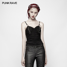 Punk Rave Women T-shirt Rivet Decoration Fashion Backless Camisole Sexy Streetwear Tops for