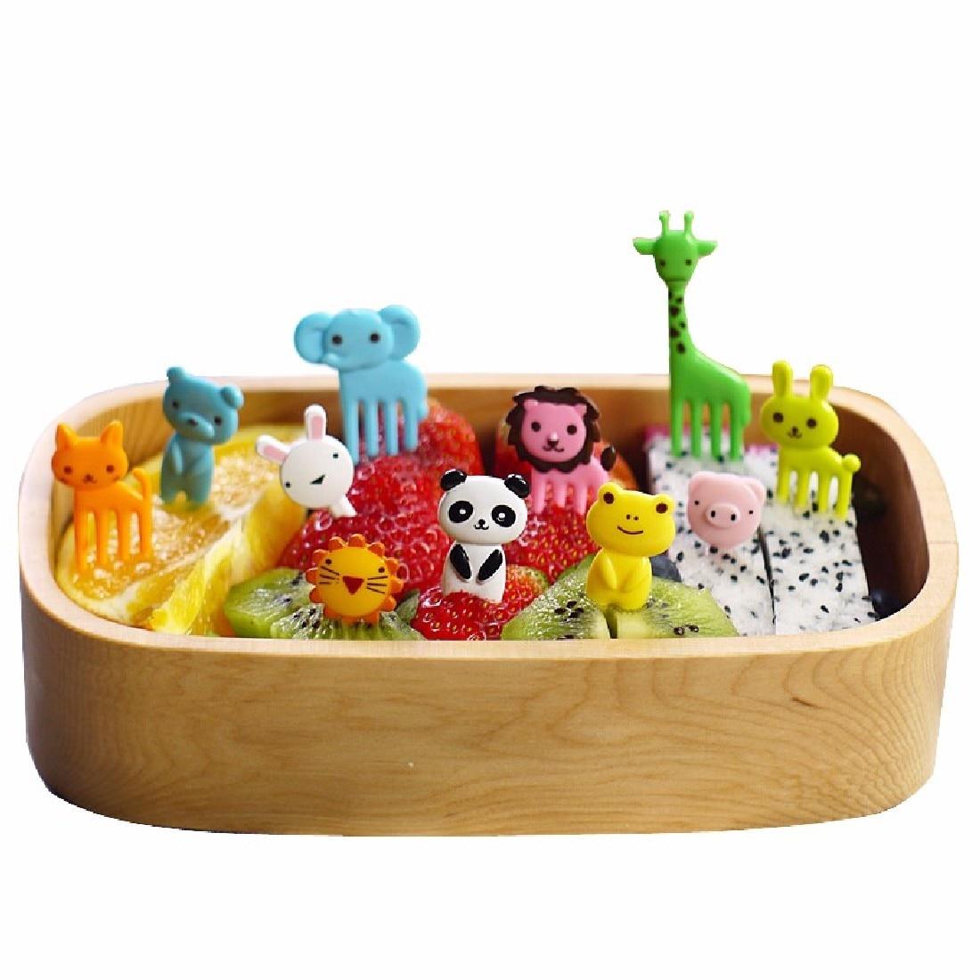 Children Lunch Decorative Color Random 10pcs/set Animal Farm Mini Cartoon Fruit Fork Sign Resin Fruit Toothpick Bento Lunch