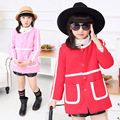 2015 New O-Neck Girls Woolen Coats,Color Contrast Girls Long Trench,Long Cotton-Padded Jacket For Girls,Pink/Red,Height110-150cm