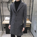 2017 new spring autumn men stylish woolen blends peacoat men's warm long wool trench coat men overcoat Plus size 4XL 5XL