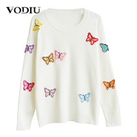 Women S Sweater Female Winter Women Sweater Pullover Long Sleeve Knitting Butterfly Applique Casual Fashion New