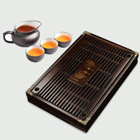 ZORASUN Large Solid Wood Tea Tray Reservoir Drainage Type Kung Fu GongFu Tea Table Serving Tray Accessories for Home Office