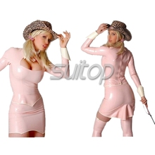 PINK RUBBER DRESS MINI LATEX LONG SLEEVE FOR WOMAN SUITOP