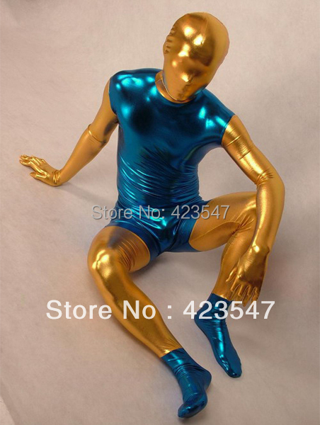 Shiny Metallic Gold And Blue Zentai Suit
